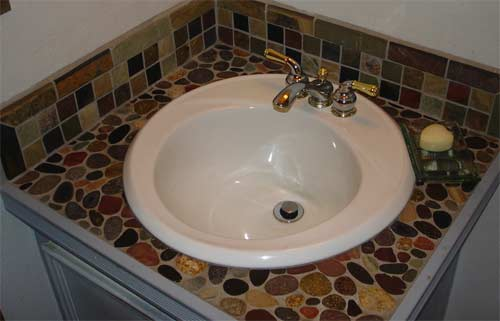 stone tile sink