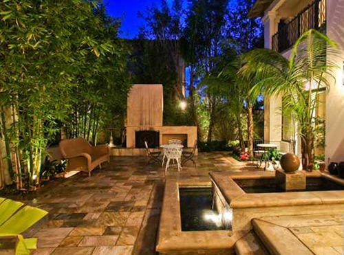 Tile Patio W/ Fountain U0026 Plants