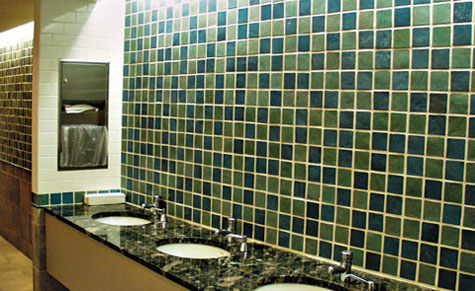 green tile backsplash