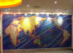 Mosaic Glass Tile in World Map