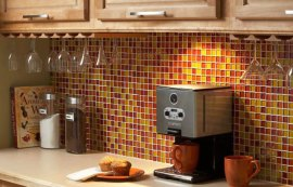 Yellow and Red Tile Backsplash